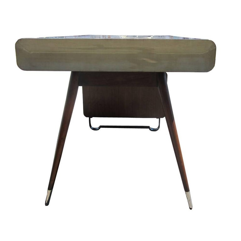 Mid-20th Century Vintage Midcentury Art Deco Italian Ponti Style Desk with Chrome Accents For Sale