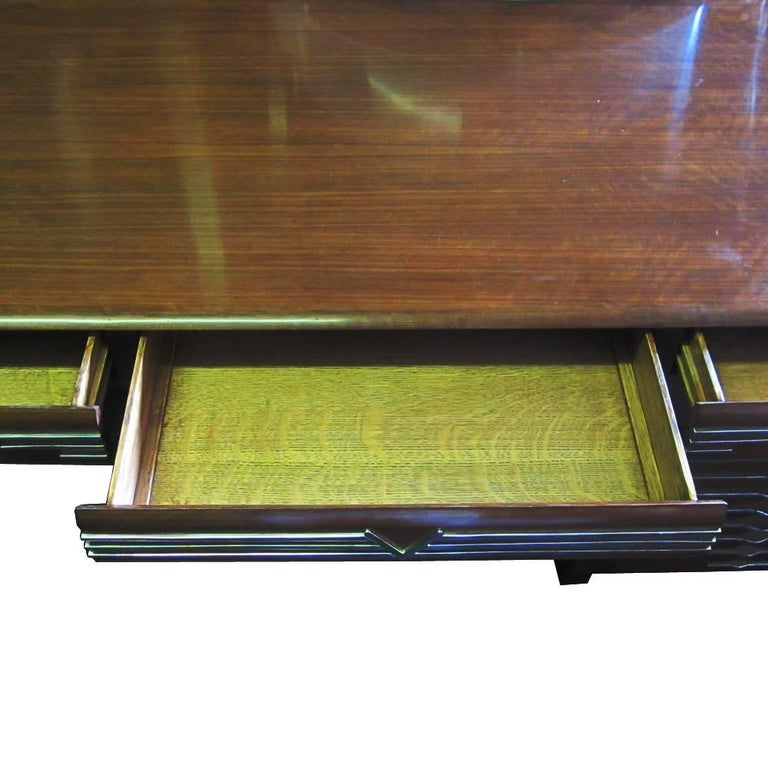 Vintage Midcentury Art Deco Italian Ponti Style Desk with Chrome Accents For Sale 1
