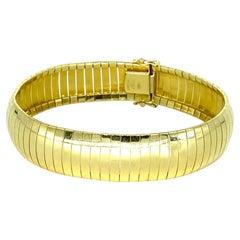 Vintage Italian Aurafin Wide Articulated Link Bracelet 14k Gold