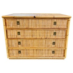 Vintage Italian Bamboo Chest of Drawers