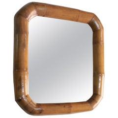 Vintage Italian Bamboo Mirror, circa 1970s