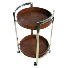 Vintage Italian Bar Cart in Chrome and Faux Leather