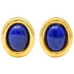 Vintage Italian Baraka Lapis Cabochon 18 Karat Gold Earrings