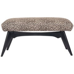 Vintage Italian Bench in Leopard Print Hair Hide