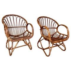 Vintage Italian Bent Bamboo & Rattan Armchairs, Pair