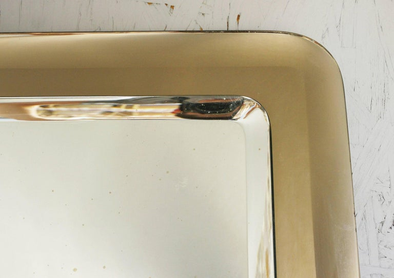 Glass Vintage Italian Beveled Smoky Mirror, 1960s For Sale