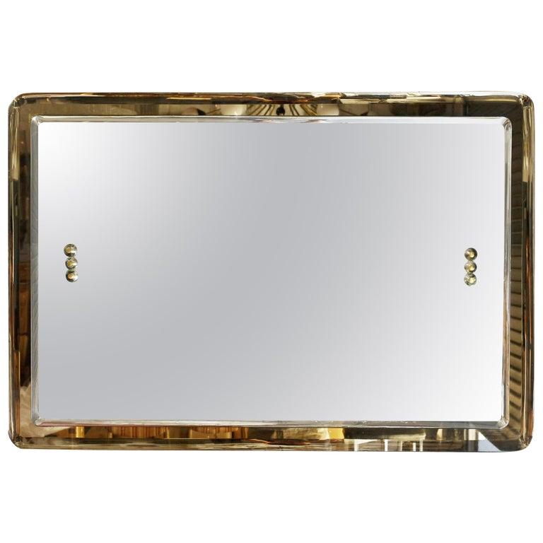 Vintage Italian Beveled Smoky Mirror, 1960s For Sale