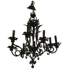 Vintage Italian Black and Gold Iron Tole Chandelier