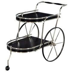 Vintage Italian Black Leather Polished Steel Bar Cart Trolley