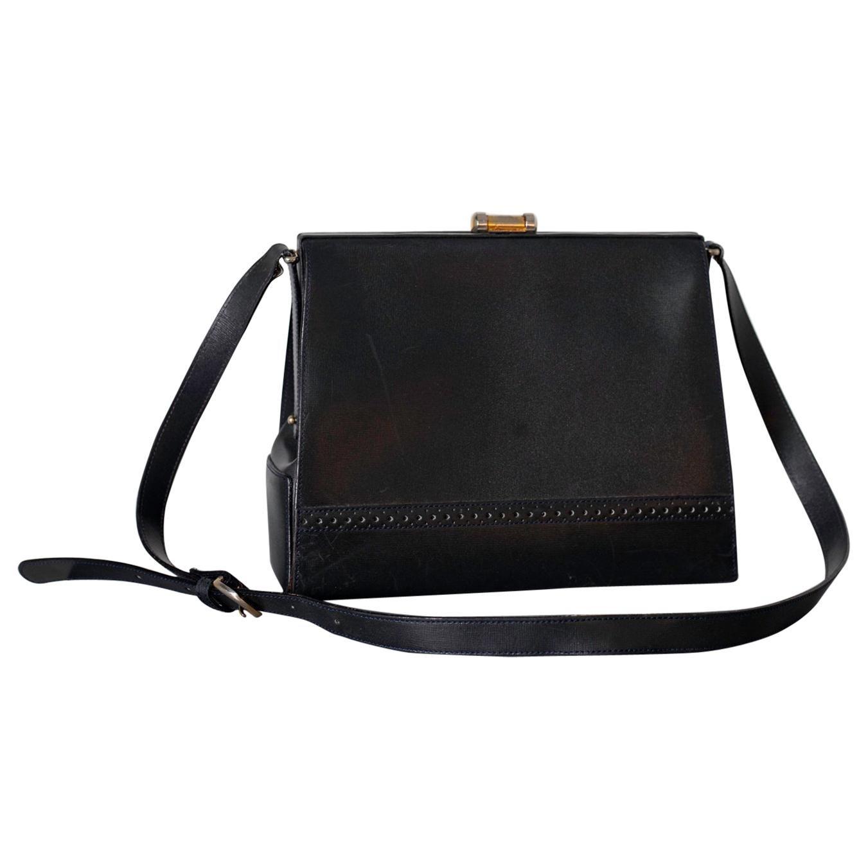 Vintage Italian Black Leather Vintage Bag by Luana, 1950s