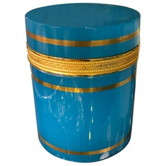 Vintage Italian Blue Opaline Glass Cylinder Dresser Box Having Gilt Trim