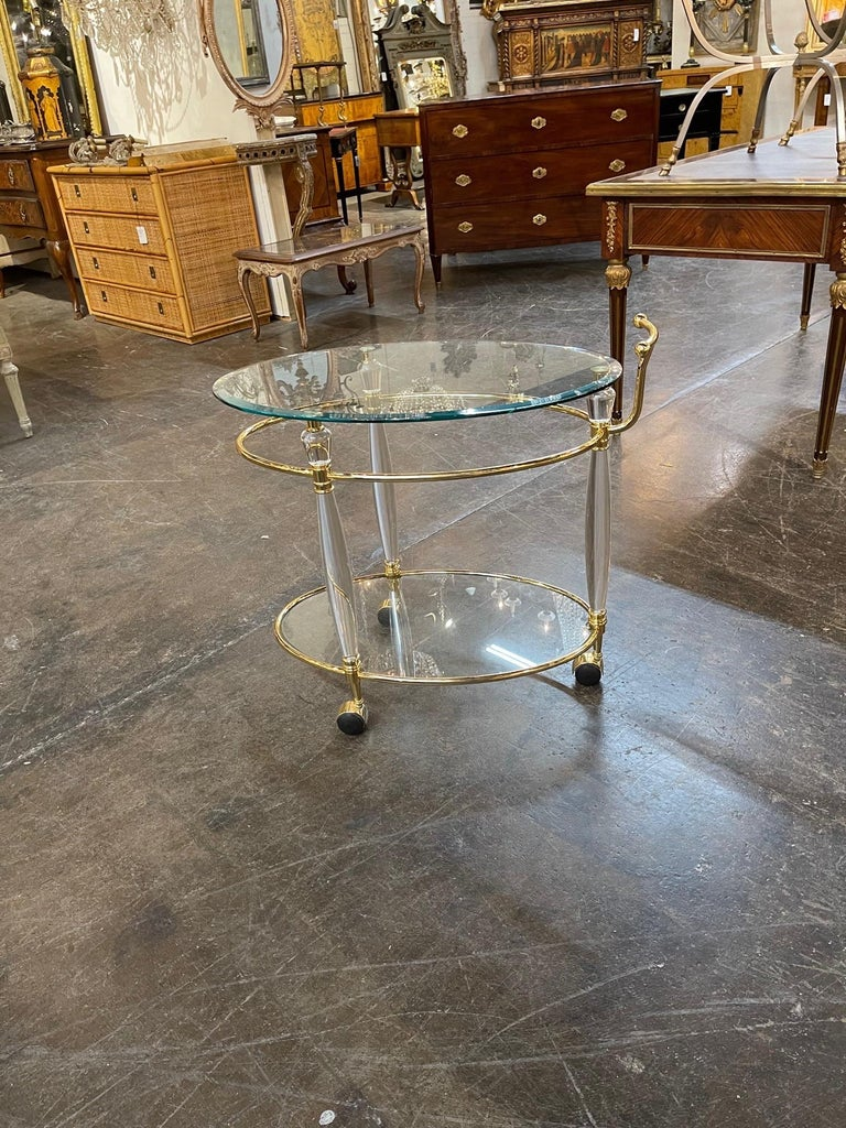Vintage Italian Brass and Lucite Bar Cart 1