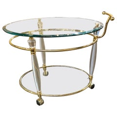 Vintage Italian Brass and Lucite Bar Cart