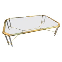 Vintage Italian Brass and Lucite Glass Top Coffee Table