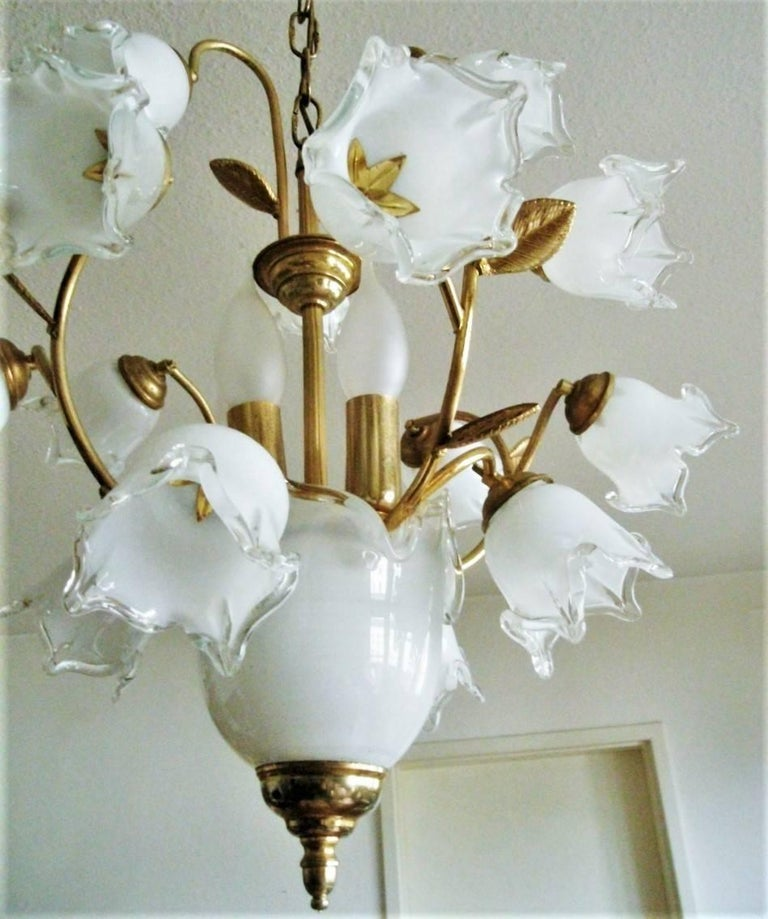 Murano Tulip Chandelier: Murano Glass And Brass Four-light Bouquet Chandelier