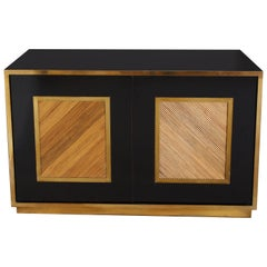 Vintage Italian Brass, Bamboo and Black Credenza, Italy, 1970s