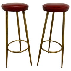 Vintage Italian Brass Bar Stools, Pair