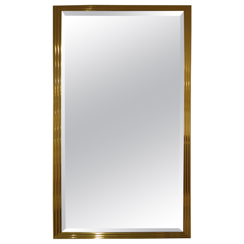 Vintage Italian Brass Beveled Mirror