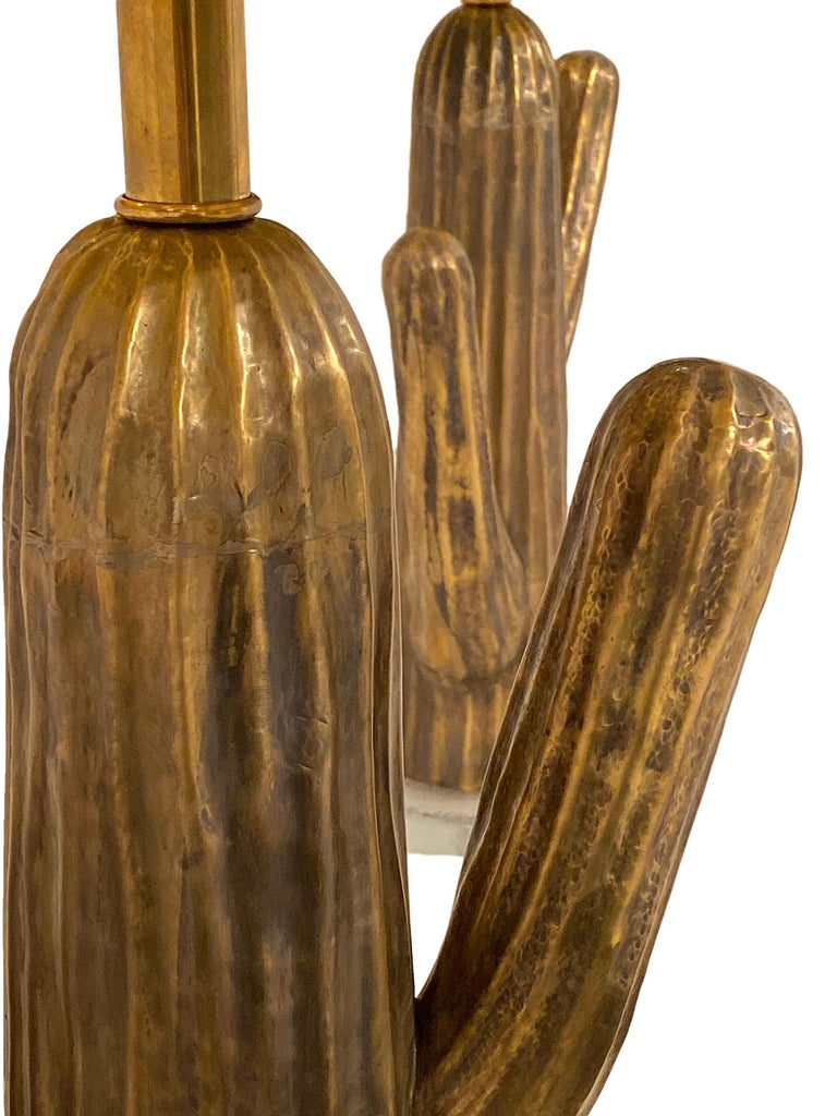 Modern Vintage Italian Brass Cactus Lamps
