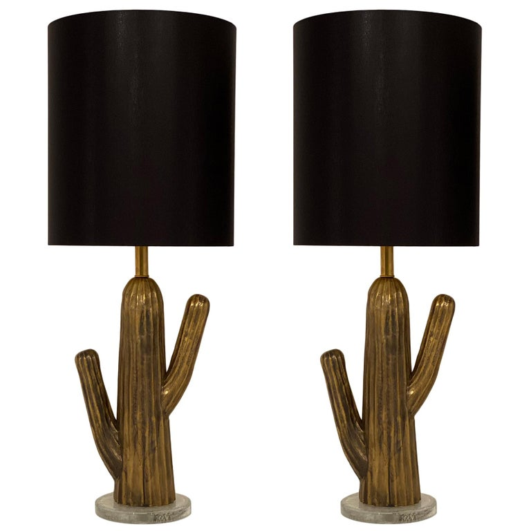 Vintage Italian Brass Cactus Lamps