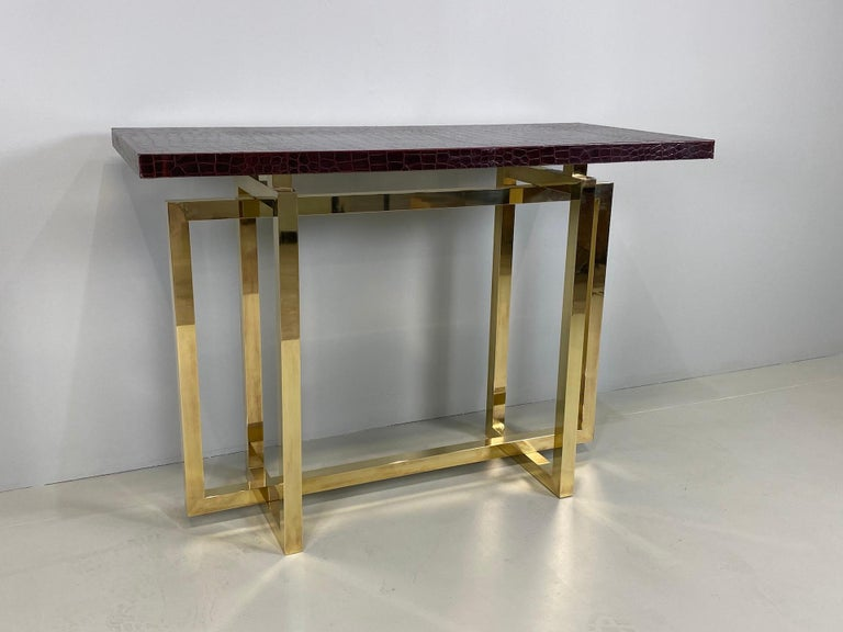 Vintage Italian Brass Console Table with Crocodile Stamped Leather Top For Sale 5