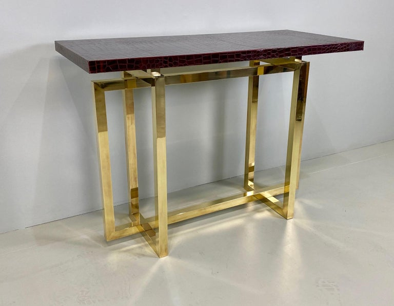 Mid-Century Modern Vintage Italian Brass Console Table with Crocodile Stamped Leather Top For Sale