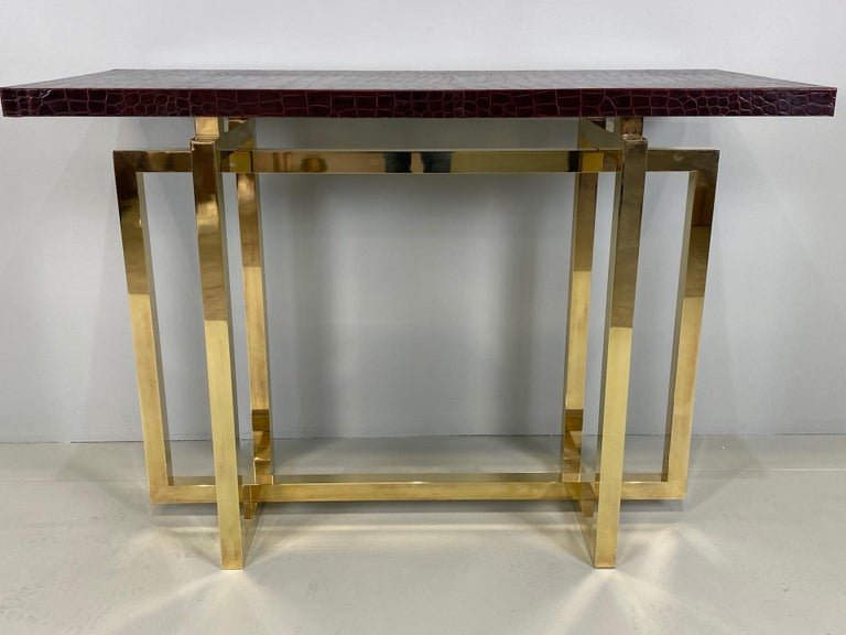 Vintage Italian Brass Console Table with Crocodile Stamped Leather Top For Sale 3