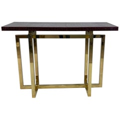 Vintage Italian Brass Console Table with Crocodile Stamped Leather Top