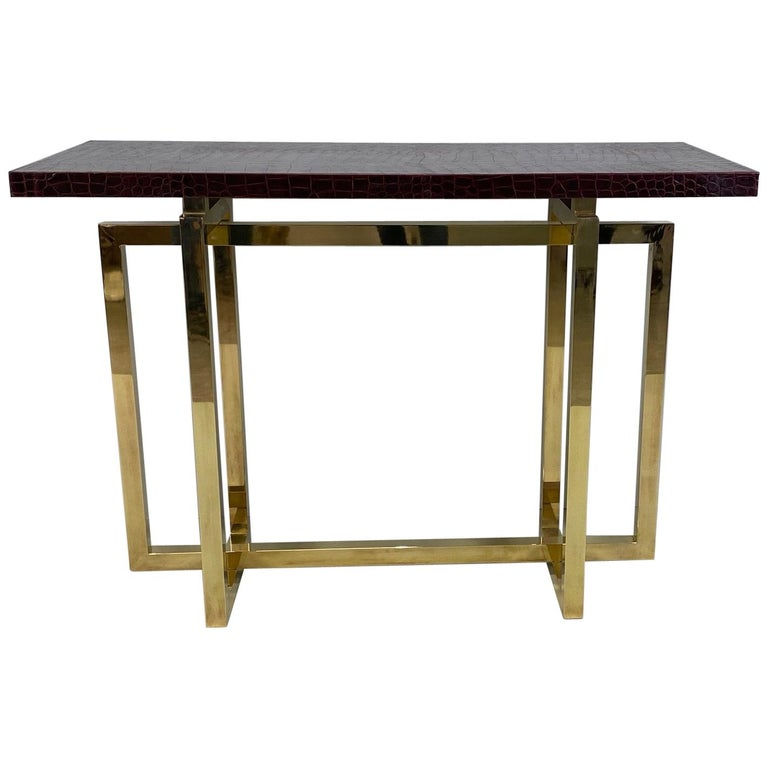 Vintage Italian Brass Console Table with Crocodile Stamped Leather Top For Sale
