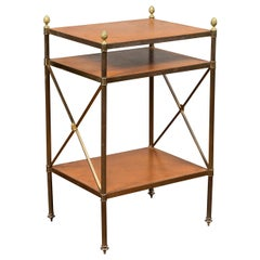 Vintage Italian Brass Etagère with Leather Shelves, Pinecones and Rosettes