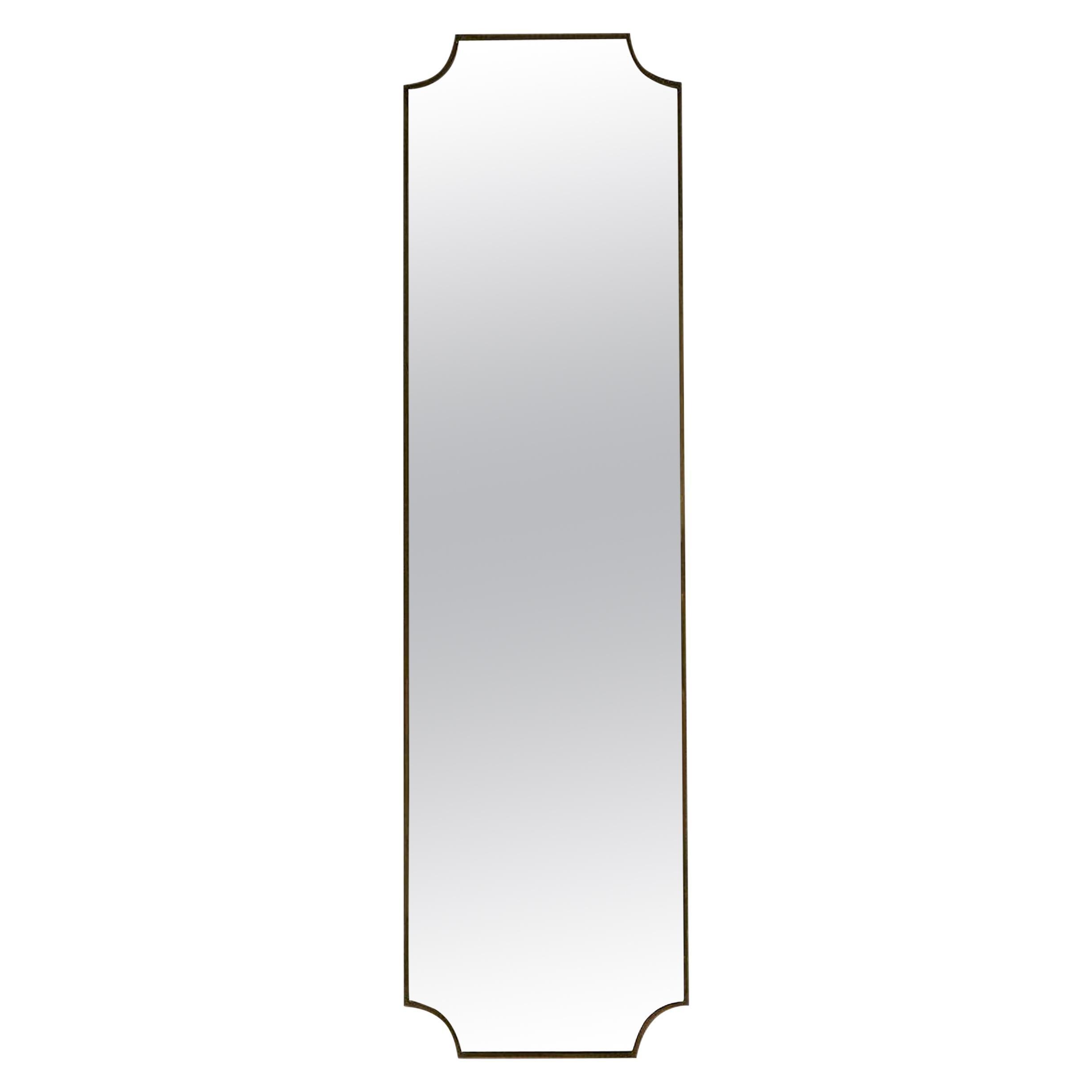Vintage Italian Brass Floor Standing Tall Mirror