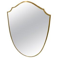 Vintage Italian Brass Frame Wall Mirror, circa 1950s