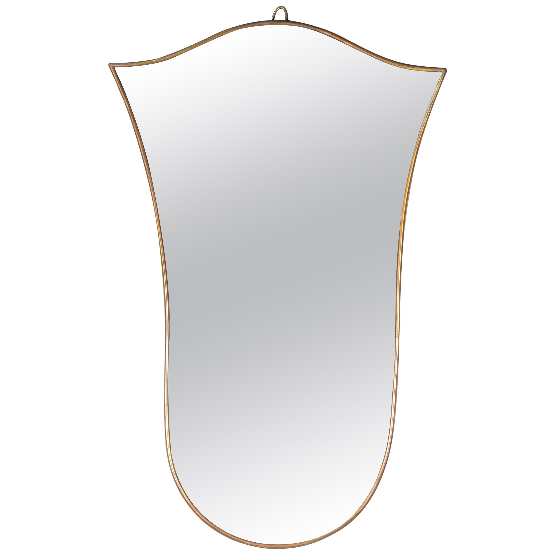 Vintage Italian Brass Framed Mirror Gio Ponti Style