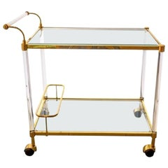 Vintage Italian Brass & Glass Two-Tier Bar Cart