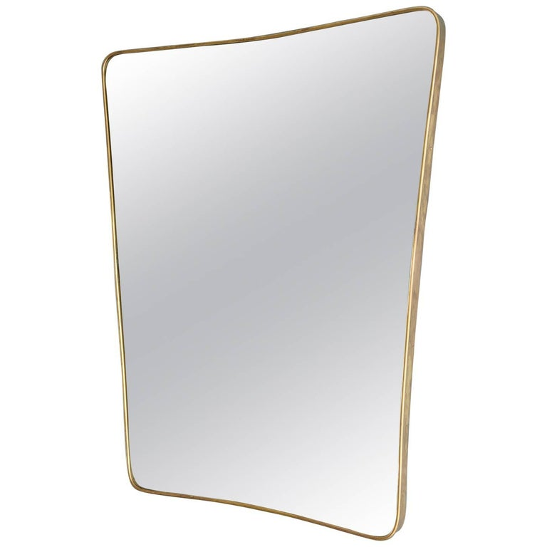 Vintage Italian Brass Mirror For Sale