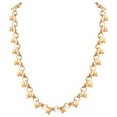 Vintage Italian Brilliant and 18 Karat Gold Leaf Motif Necklace
