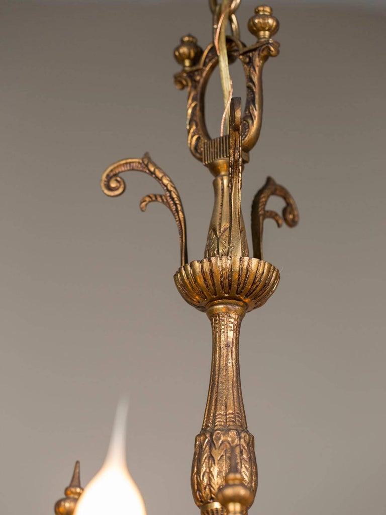 Vintage Italian Bronze Art Nouveau Two-Tier Twelve-Light Chandelier, Italy For Sale 5