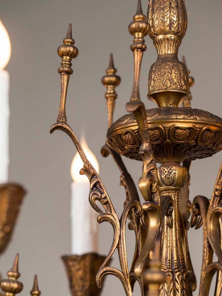 Vintage Italian Bronze Art Nouveau Two-Tier Twelve-Light Chandelier, Italy For Sale 6