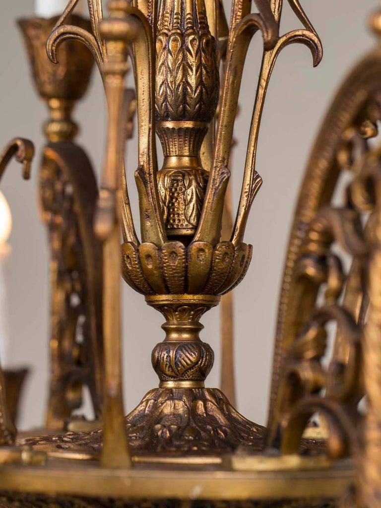 Vintage Italian Bronze Art Nouveau Two-Tier Twelve-Light Chandelier, Italy For Sale 7