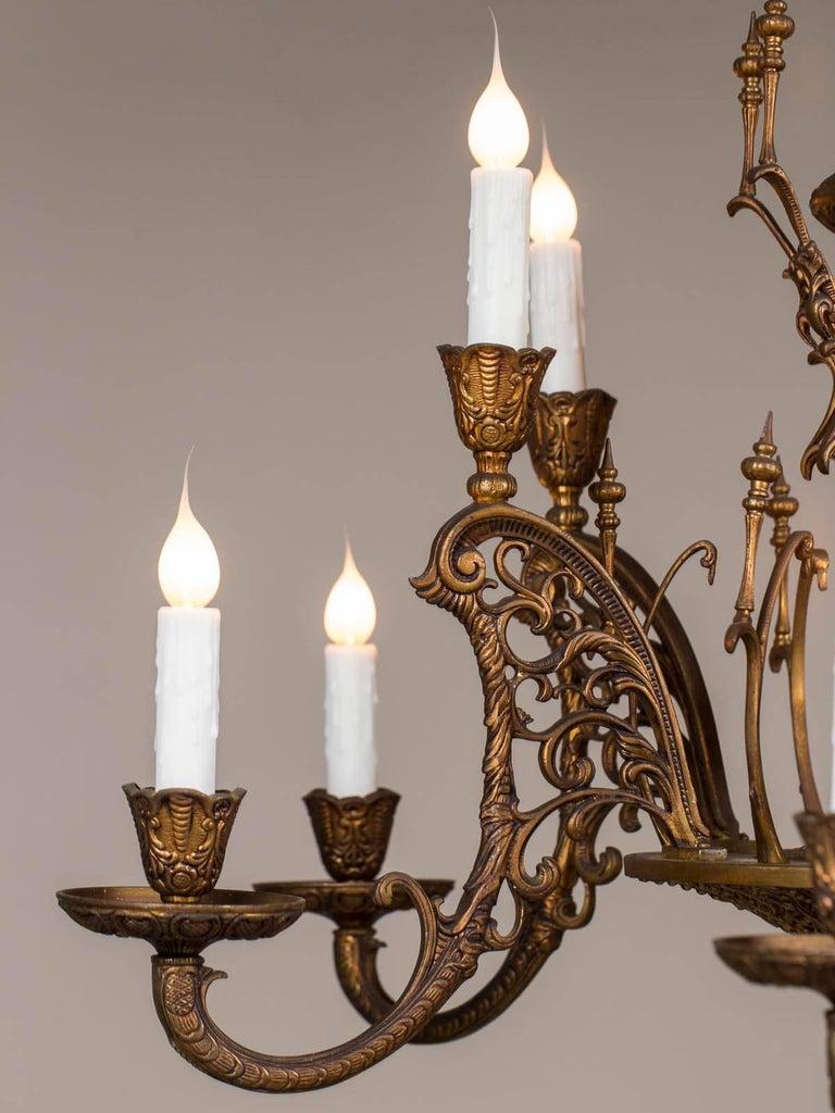 Vintage Italian Bronze Art Nouveau Two-Tier Twelve-Light Chandelier, Italy In Excellent Condition For Sale In Houston, TX