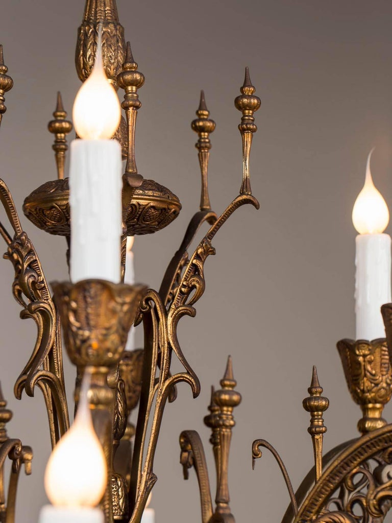 20th Century Vintage Italian Bronze Art Nouveau Two-Tier Twelve-Light Chandelier, Italy For Sale