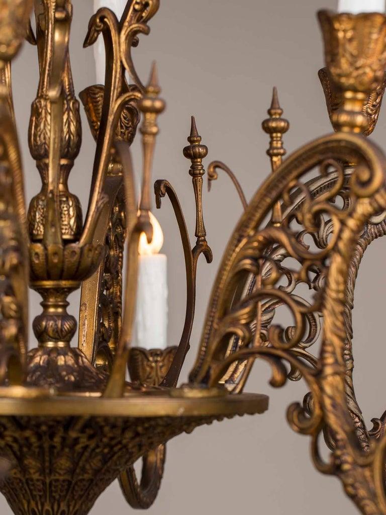Vintage Italian Bronze Art Nouveau Two-Tier Twelve-Light Chandelier, Italy For Sale 1