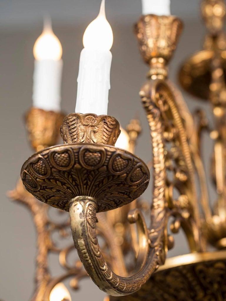 Vintage Italian Bronze Art Nouveau Two-Tier Twelve-Light Chandelier, Italy For Sale 3