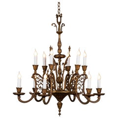Vintage Italian Bronze Art Nouveau Two-Tier Twelve-Light Chandelier, Italy