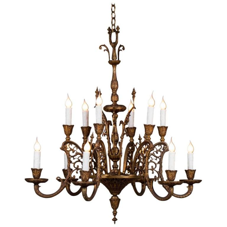 Vintage Italian Bronze Art Nouveau Two-Tier Twelve-Light Chandelier, Italy For Sale