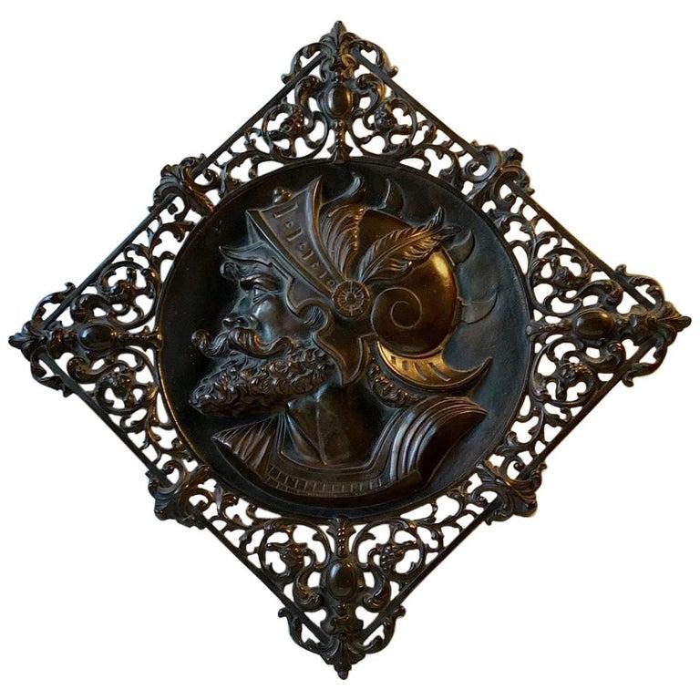 Vintage Italian Bronze Wall Sculpture of Roman Warrior, 1970s For Sale