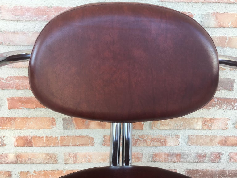 Vintage Italian Brown Leather and Chrome Armchairs, 1980s, Set of Five For Sale 5