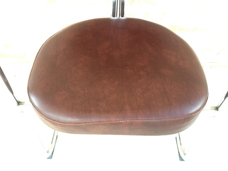Vintage Italian Brown Leather and Chrome Armchairs, 1980s, Set of Five For Sale 6
