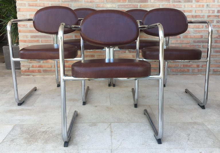 Vintage Italian Brown Leather and Chrome Armchairs, 1980s, Set of Five In Good Condition For Sale In Miami, FL