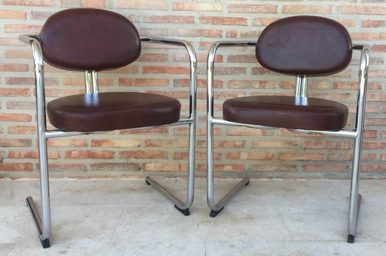 20th Century Vintage Italian Brown Leather and Chrome Armchairs, 1980s, Set of Five For Sale
